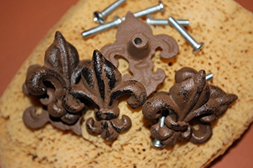 - Southern Metal Set of 10 Cast Iron Fleur De Lis Knobs Cabinet Drawer Pulls Cast Iron Vintage Look, 2 1/8
