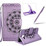 Rope Leather Case for Samsung Galaxy A310 2016,Strap Wallet Case for Samsung Galaxy A310 2016,Herzzer Bookstyle Classic Elegant Mandala Flower Pattern Stand Magnetic Smart Leather Case with Soft Inner for Samsung Galaxy A310 2016 + 1 x Free Purple Cellphone Kickstand + 1 x Free Purple Stylus Pen - Purple