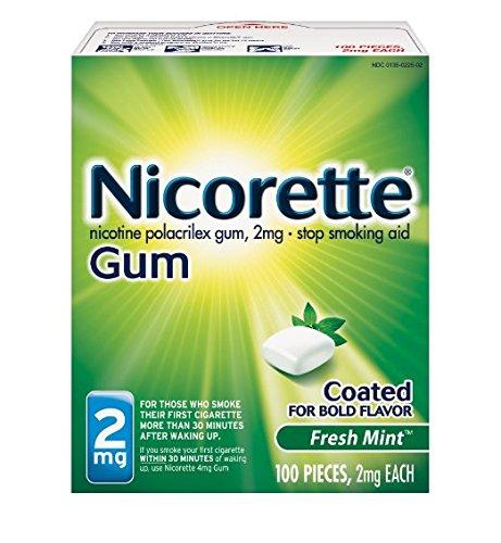 Nicorette Nicotine Gum Fresh Mint 2 milligram Stop Smoking Aid 100 count Pack of