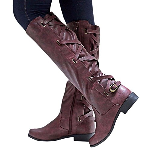 wine Knee Riding Womens Strappy Winter Syktkmx Red 1 Boots Leather Low High Motorcycle Up Heel Lace n0qIwtdw6