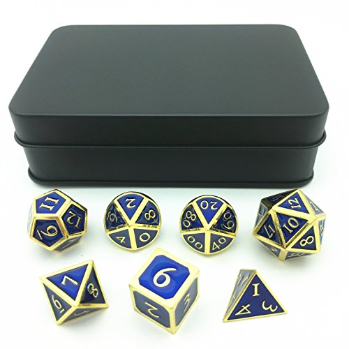 Amatolo Polyhedron Solid Tweezers, Metallic Dice for DND RPG,Golden & Sapphire Blue Background (Set of 7 + metal black storage box)