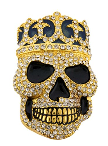 - Skull Bling Iced Out Hip Unisex Crystals Rhinestones Men's Women's Belt Buckle. (Skull Crown Gold Size: 4.00