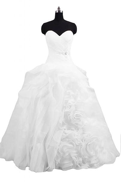 sunvary Corpiño elegante flor blanca de organza boda vestidos de fiesta: Amazon.es: Ropa y accesorios