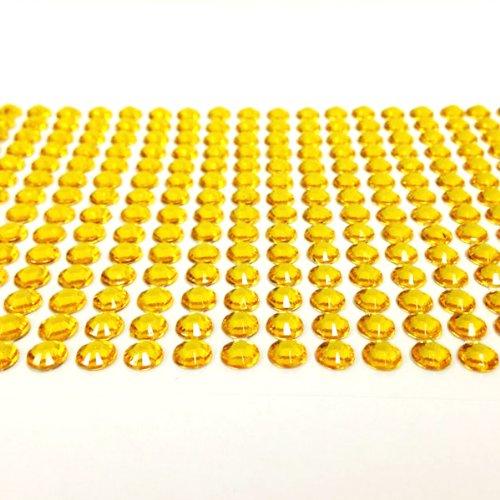 Wrapables 500-Piece Adhesive Rhinestone Crystal Diamond Stickers, 6mm, Yellow ()