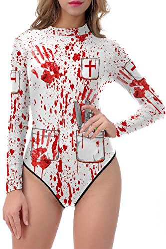 ALBIZIA Women's Blood Printed Halloween Costume Cosplay Bodysuit Jumpsuit