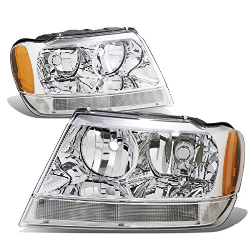 For 99-04 Jeep Grand Cherokee WJ Pair of Chrome Housing Amber Corner Headlights/Lamps - Jeep Grand Cherokee Lamp