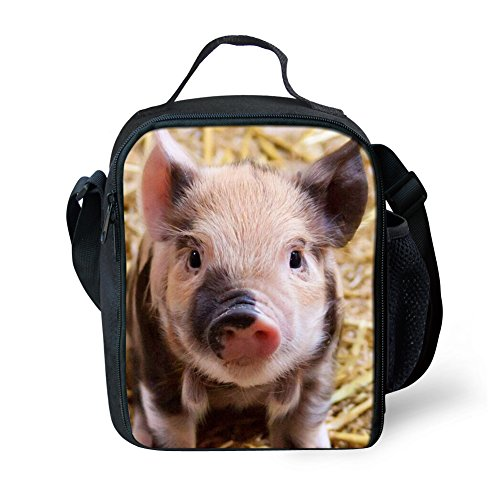 Animals 3d Pig Printed Portable Kids Lunch Bag Insulated School Outdoor Travel Thermal Lunchboxes Tote Cooler - Pig Lunch