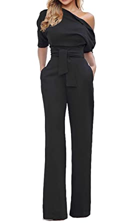 c7200ba93820 Grace Elbe Women s Wide Leg Slanted One Shoulder Belted Jumpsuit Black Small