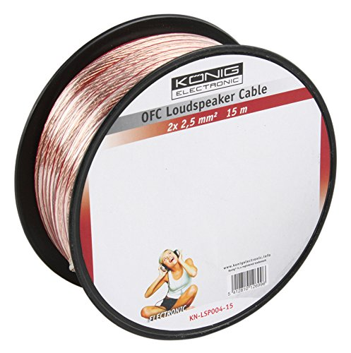 Konig OFC loudspeaker cable 2x 2.5mm 15 m [KN-LSP04R-15]   B009X28LRK