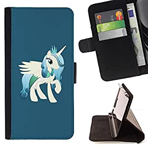 Unicorn White Pony Cartoon Drawing Horse - Painting Art Smile Face Style Design PU Leather Flip Stand Case Cover FOR Samsung ALPHA G850 @ The Smurfs