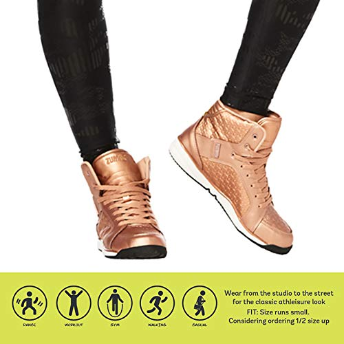Zumba Women's Street Boss Fashion Athletic Dance Workout Sneakers Shoe, Rose Gold, 8.5 Regular US