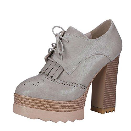 Carolbar Kvinnor Snör Åt Upp Retro Mode Vintage Charm Plattform Hög Chunky Klack Fotled Klänning Boots Grå