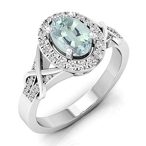 Dazzlingrock Collection 10K Oval Cut Aquamarine & Round Cut Diamond Bridal Halo Engagement Ring, White Gold, Size 6