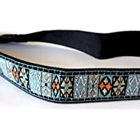Think Natural Solutions Embroidered Ocean Blue Green Camera Strap Leather Vintage Style, universal DSLR SLR woven Canon, Nikon, Pentax