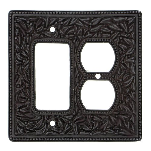 Vicenza Designs WPJ7011 San Michele Wall Plate with Jumbo Dimmer and Outlet Opening, Oil-Rubbed Bronze by Vicenza Designs