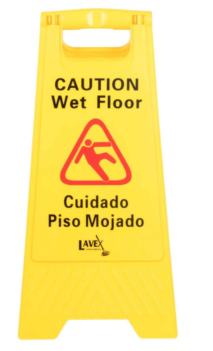 10-Pack of Yellow Caution Wet Floor Signs, 2-Sided Bilingual Warning – Slip & Fall Accident Prevention BY HEDY4LESS
