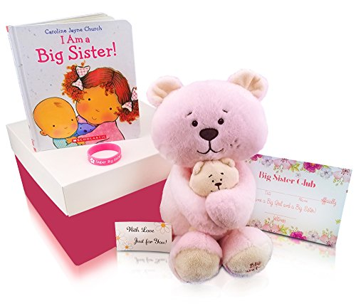 Rebanah Big Sister Gift Set from Baby New Big Sister Gifts for Toddlers Girls-Big Sister Stuffed Animal Plush - I am a Big Sister Book- Silicone Bracelet- Big Sister Club Certificate in Gift Box