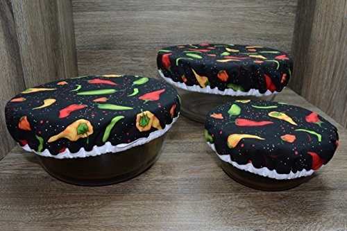 Cover Chili Peppers - Eco-Friendly // Reusable // Bowl Covers // Set of 3 // Chili Peppers