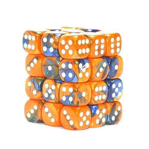 Chessex Dice Gemini Blue-Orange W/ White 12Mm D6 36 Dice Block by Chessex