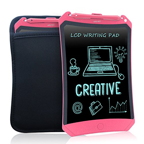 NewYes Robot pad 8.5 Inch LCD Writing tablet electronic writings pads Drawing board gifts for kids office blackboard - Erase Button Lock Included(Pink-Case)