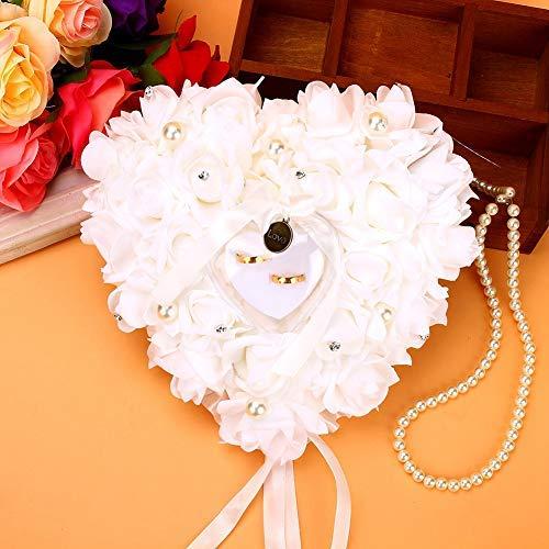 Almohada de anillo de boda, romántica rosa con forma de ...