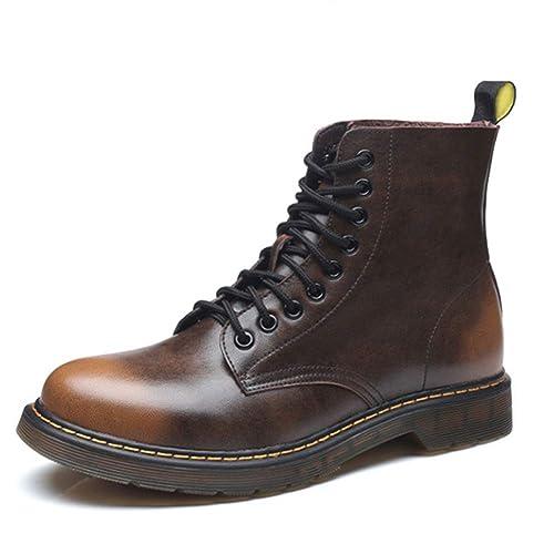 7161687006c KUNSHOP Women's Men's Flat Leather Ankle Booties Lace up Low Heel Short  Work Combat Boots for Winter