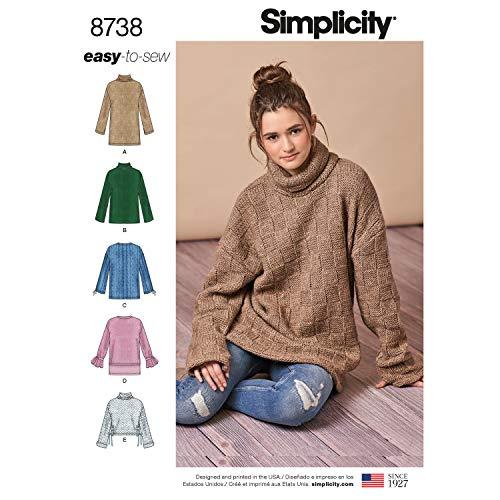 Simplicity 8738 Misses' Knit Mini Dress Tunic or Top A (Sizes XXS-XXL) Multi
