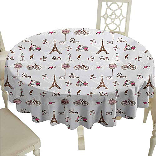 duommhome Paris Spill-Proof Tablecloth Romance Language Capital of Love Eiffel Heart Fashion City Valentines Print Easy Care D67 Redwood Pearl Pink