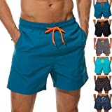 SILKWORLD Men's Swimming Surf Board Shorts Mesh Liner(US M Size-Asian Tag XL, Waist 32.5' - 34', Peacock Blue)