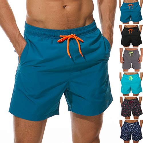 SILKWORLD Men's Swimming Surf Board Shorts Mesh Liner(US L Size-Asian Tag 2XL, Waist 34.5