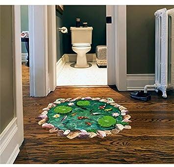 Llxln 3D Fischteichen Lotus Bodenbeläge Kunst Aufkleber Für Wohnzimmer Home  Dekorationen Adesivos De Parede Diy