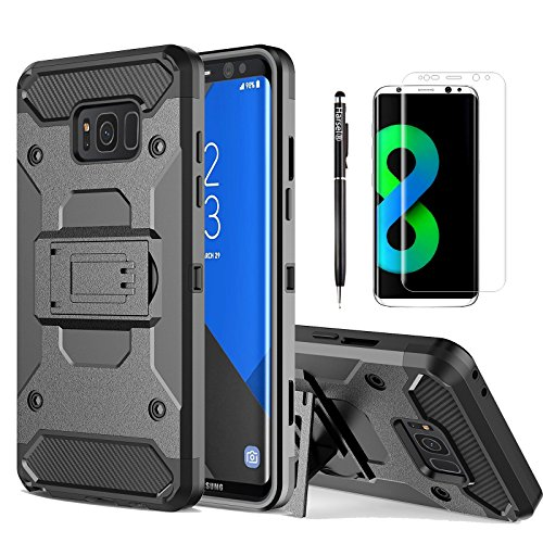 Harsel Dual Layer Tough Rubber Shockproof Impact Resistant Military Rugged Hybrid Armor Bumper Shell Case Cover with Belt Clip for Samsung Galaxy S8 Plus - Black (Galaxy S8 Plus)
