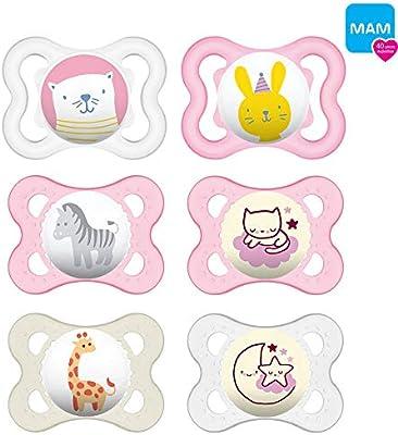 Mam Day & Night silicona Chupete 0 - 6 niña//Juego De 6//Incluye 3 ...