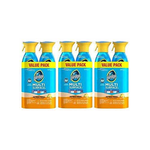- Pledge Multi Surface Antibacterial Everyday Cleaner Spray, 9.7 oz, 6 pk, Blue