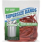 SuperSize Bands 12 x 1/4 Inch Rubber Bands for Oversize Jobs - 4 Ounce Resealable Bag - Red
