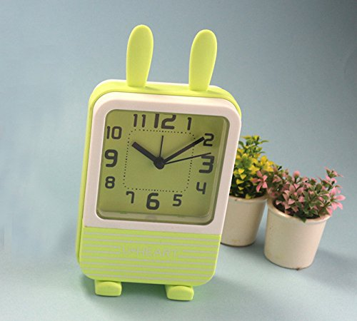 Heylookhere Quiet and Practical Lovely Kids Children Students Silent Rabbit Ear Alarm Clock with Light (Green)