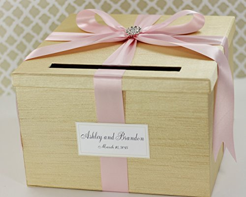 Wedding Card Money Holder Box Champagne Gold and Pink Customizable
