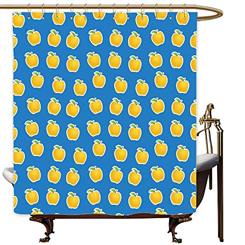 MaryMunger Polyester Shower Curtain Apple Yellow Clipart Apples on Blue Background Delicious Vegetarian Food Vitamins Fashionable Pattern W48x84L Blue Green Yellow ()