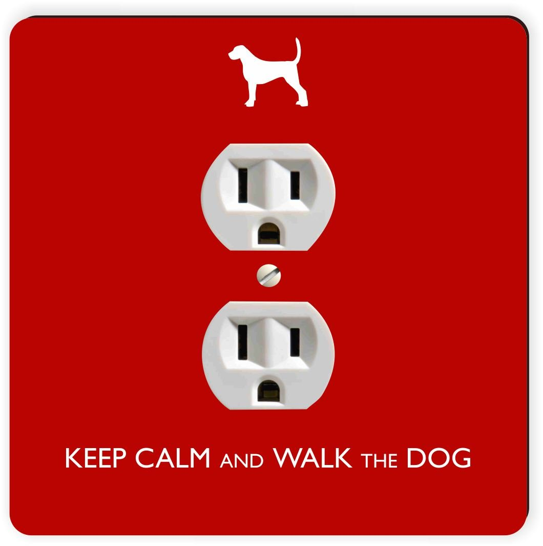 Rikki Knight Keep Calm and Walk The Dog-Red Color Single Outlet Plate