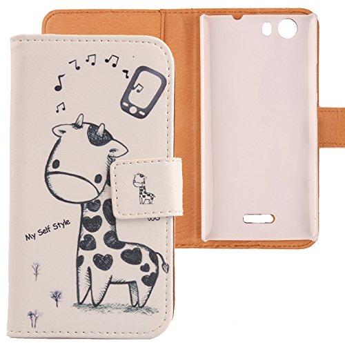 Lankashi Pattern Design Leather Cover Skin Protection Case for Wiko Ridge 4G (Giraffe)