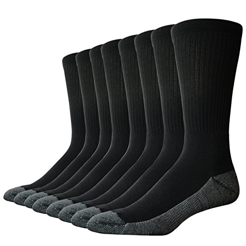 The Sock Crew Mens 8 Pair Pack Crew Socks Work Socks with cushion sole, arch support and mesh ventilation ()