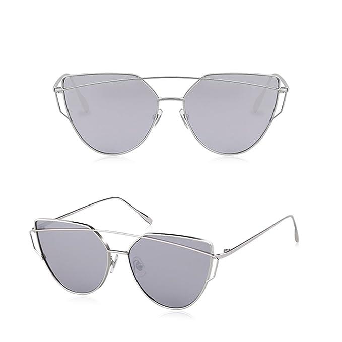 HAIYING Sonnenbrille Für Frau, Klassische Twin-Beams Metallrahmen Luxus Cat Eye Spiegel Brille Für Den Urlaub Reisen, UV400 Schutz ( Farbe : Schwarz )