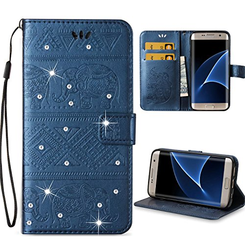 Lucky Embossed Belt (Galaxy S7 Edge Case,Berry Accessory Beauty 3D Fashion Wallet PU Leather Printing Aztec Elephant Pattern [Credit Card Slot] Flip Cover Case for Samsung Galaxy S7 Edge (Navy)