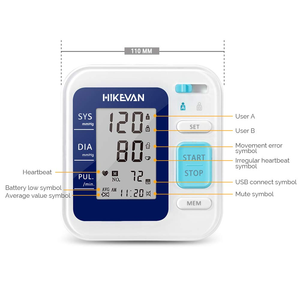 Amazon.com: HIKEVAN Blood Pressure Monitor Upper Arm Bp Monitor with Talking & Mute Design,Wide Range Cuff,2 * 120 Readings Memory,Irregular Heart-Beat ...