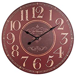 BEW Wooden Wall Clock, Large Vintage Silent Non-Ticking Battery Operated Quartz Movement, Large Rustic Decorative Clock for Living/Dining/Bedroom/Kitchen, 24 Inch