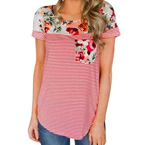 WILLTOO Clearance! Women's Summer Short Sleeve Tops, Pocket Stripe Casual T Shirts (Red, XXL)