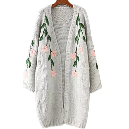 WoowTry Women's Fashion Embroidered Leaf Floral Cardigan Sweater Long Sweaters Coat Grey One Size