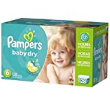 Pampers Baby Dry Diapers Economy Plus Pack - Size 6 128 Count, New!!!