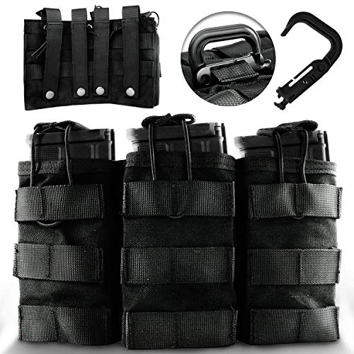 (DeltaSix MOLLE Taco Mag Pouch + D-Ring - Tactical Accessories for M4, M16, AR15, AK47 & AK74 30-Round Magazine | Black)