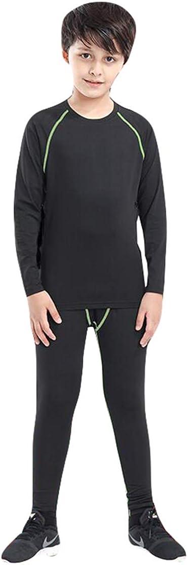 Gaga city Kids Long Sleeve Base Layer Boys Girls Compression Sport Thermal Underwear Top+Bottom Fitness Set